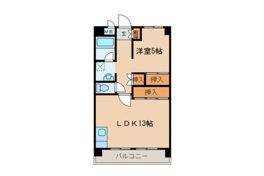 明福ビル602号室の間取り図です。