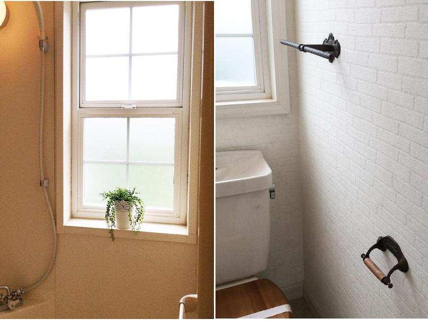 窓は全て上下開閉式。明るい光が降り注ぐトイレ。