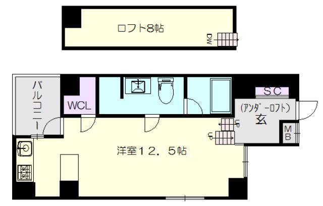 GKレジデンス802号室の間取り図です。