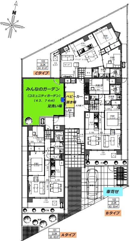 平面図_各部屋タイプの配置