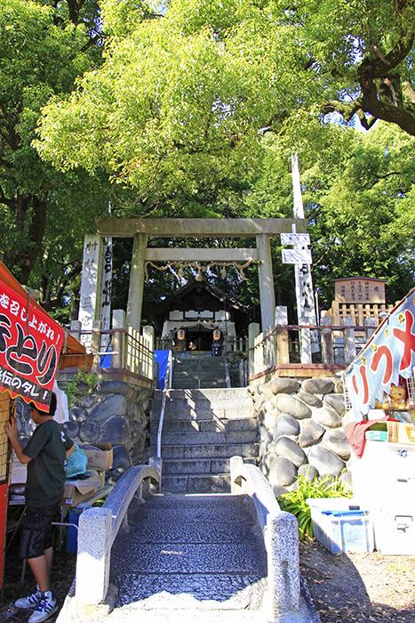 小高い場所に位置する星宮社への階段と鳥居_MG_9070