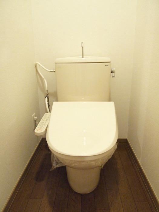 濃色木目調のお手洗いの床