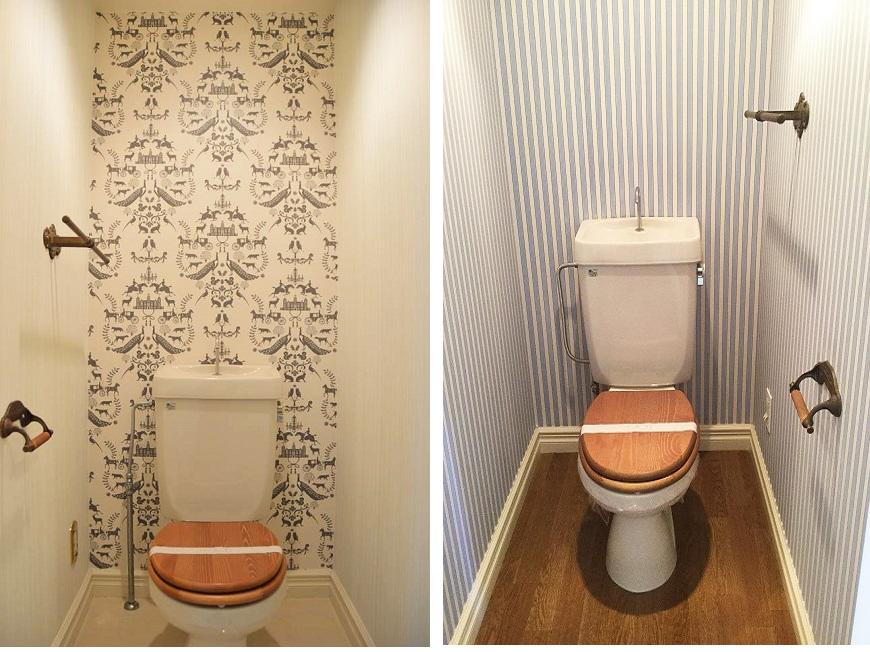 トイレのお洒落な壁紙は、各部屋違ったコンセプトでコーディネートされています。