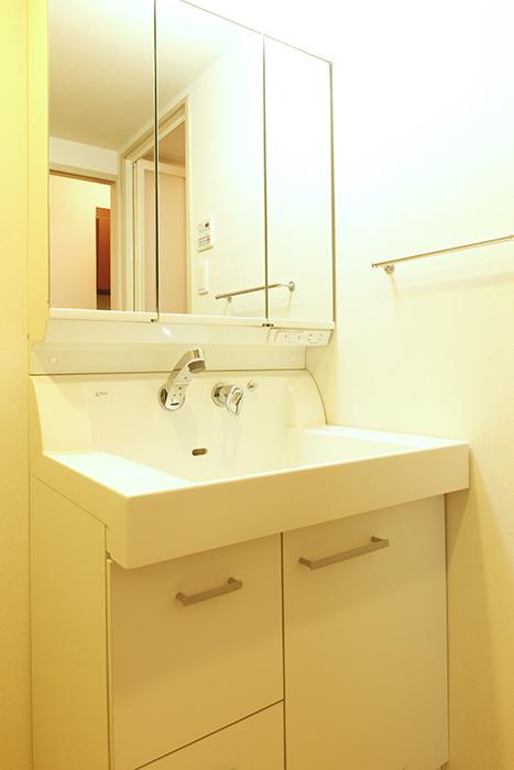 大きな鏡の独立洗面台(シャワーヘッド付)はシンプルでキレイ!_MG_8851
