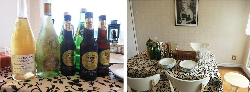 オーナー夫婦が準備してくれたスペインビールにカヴァ