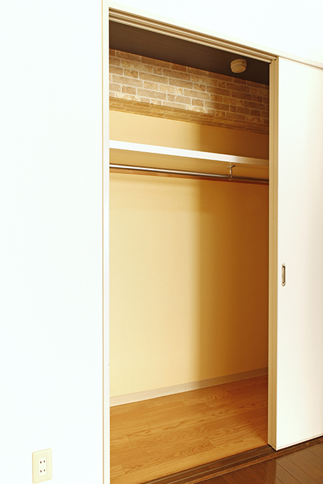 棚、ハンガーバーもあり、高さ・奥行きも充分な収納です_MG_0365