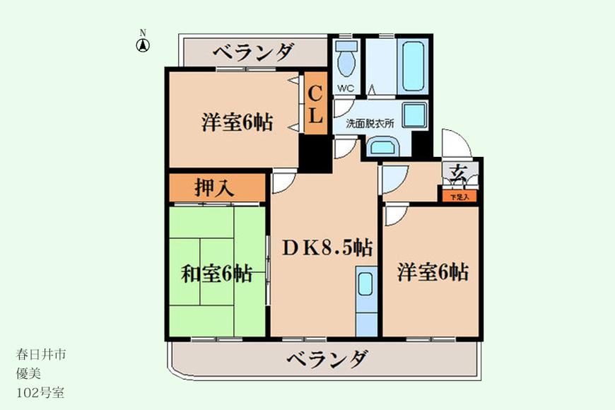 【春日井市】優美(102号室)間取り図