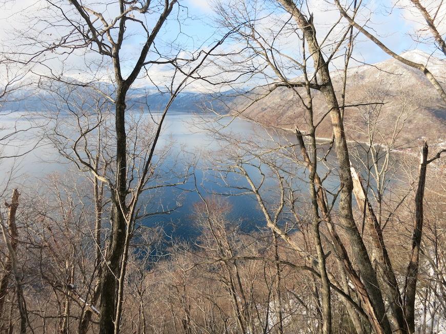 山の上から、樹々の間にのぞく支笏湖も美しい_IMG_4056