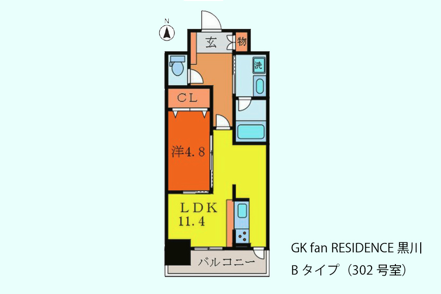 GKfanRESIDENCE_BType_302号室_間取図