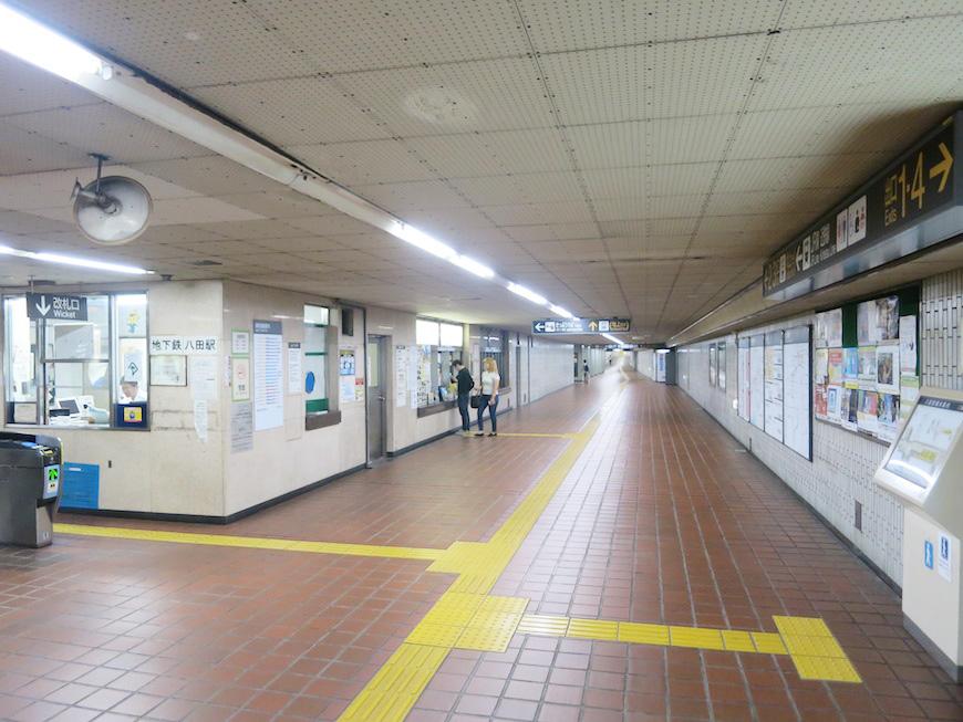 地下鉄東山線:八田駅の地下通路、地上への出口やJR、近鉄線への連絡通路があります_IMG_5383_rth