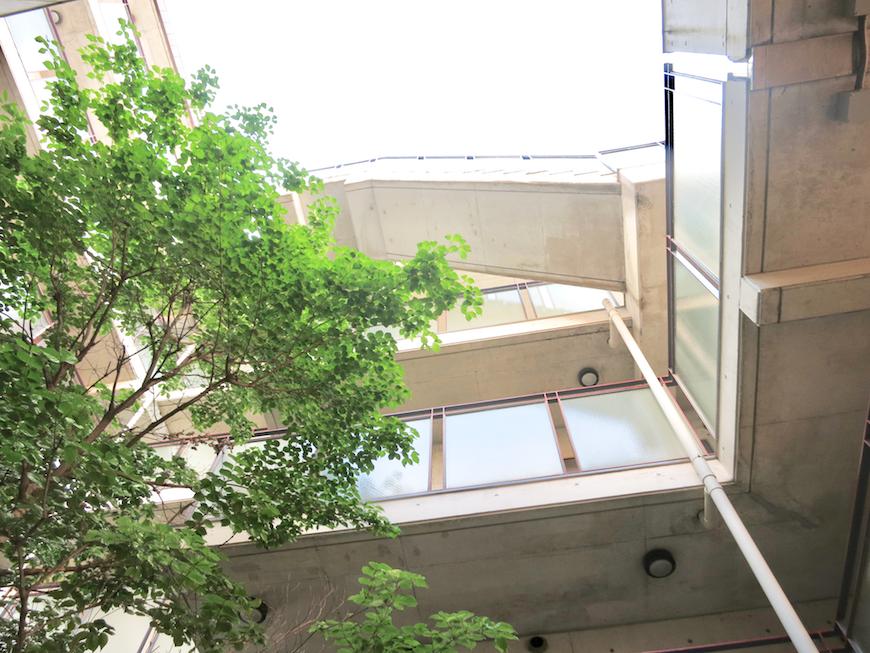 ラ・ヴィアン・ムロガ 外観 駐車場は建物の1Fに。緑が綺麗2