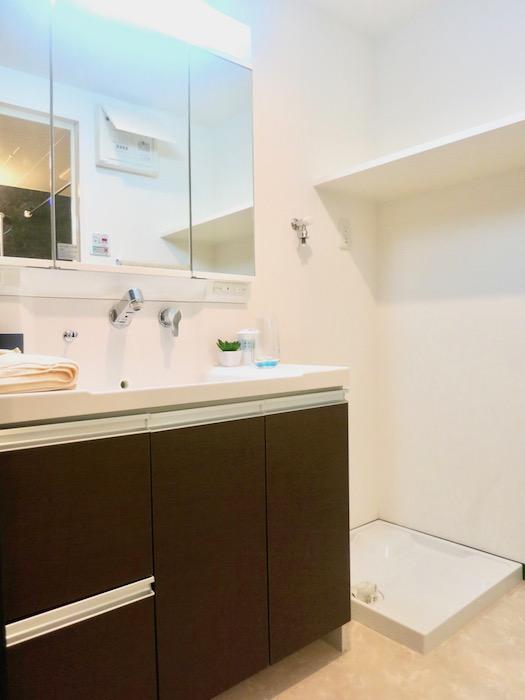 ラヴィータ泉 広い洗面化粧台と洗濯機置き場。Cタイプ11