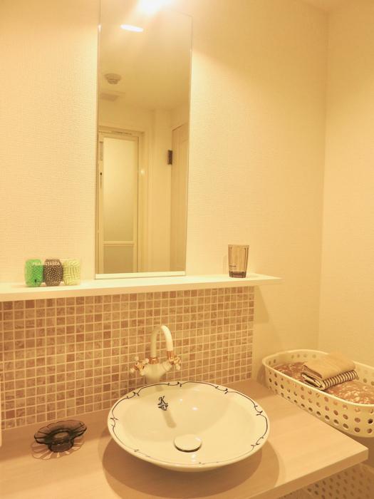 エステート楠 陶器の洗面台とタイルの可愛い水周り サニタリールーム2