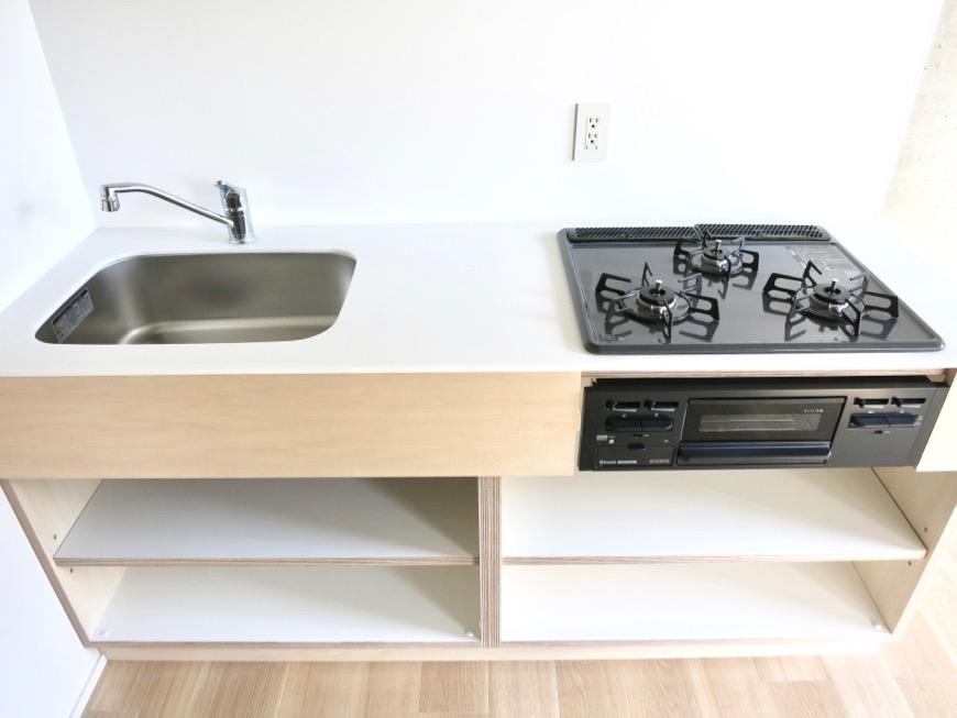 白壁ふたば荘 Atype ナチュラルなキッチン台。