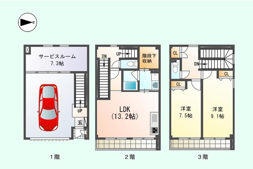 【ガレージハウスCUBE】間取り図_A1号室s