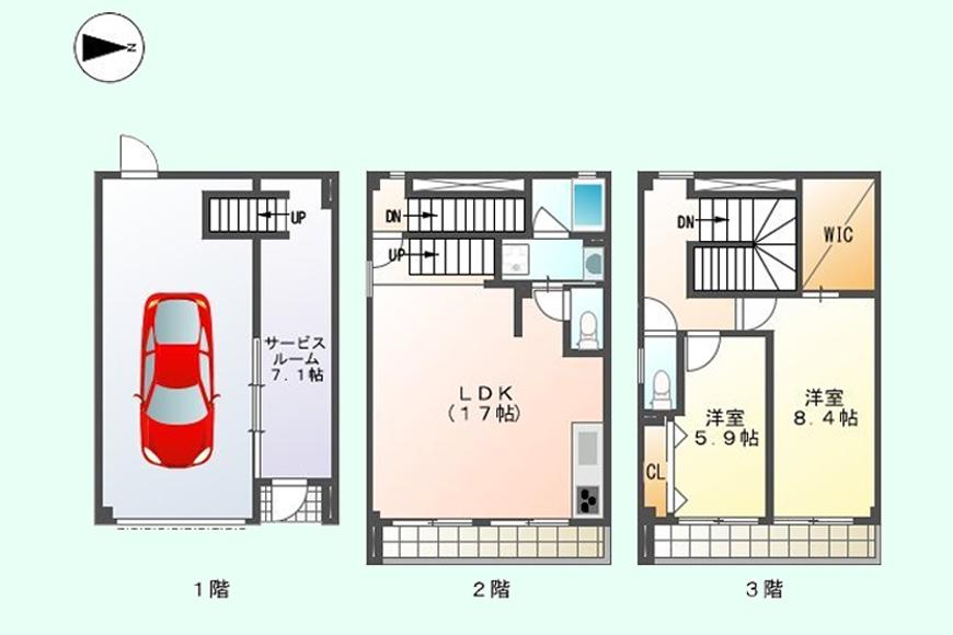 【ガレージハウスCUBE】間取り図_B2号室