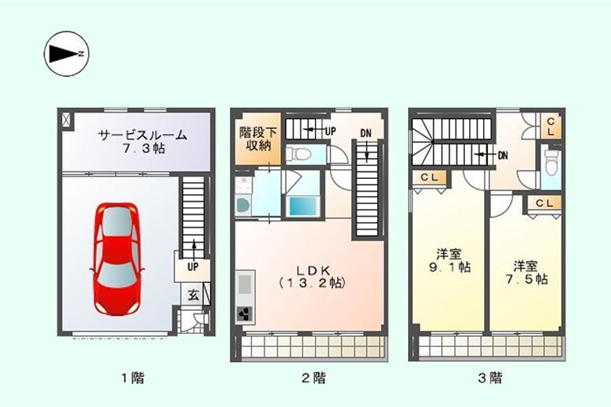 【ガレージハウスCUBE】間取り図_A1号室