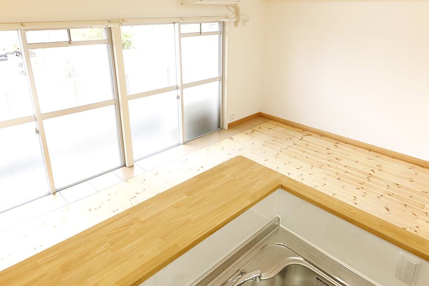 【ドヌール諏訪】203号室_LDK_キッチン周り_キッチンからリビングへの眺望_MG_5830
