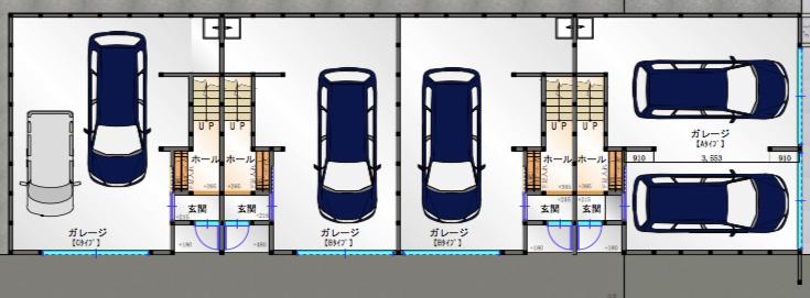 【ガレージ全体図】楠一丁目ガレージハウス