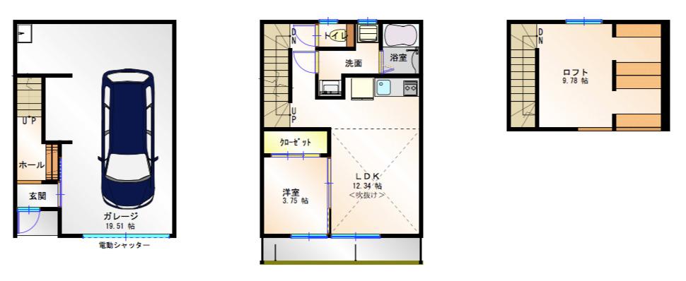 【間取図】楠一丁目ガレージハウス_B-2タイプ
