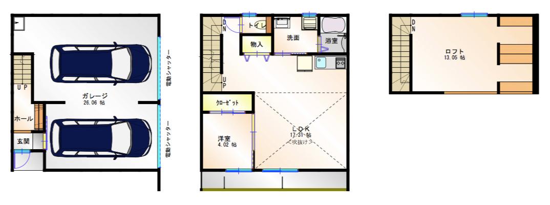 【間取図】楠一丁目ガレージハウス_Aタイプ