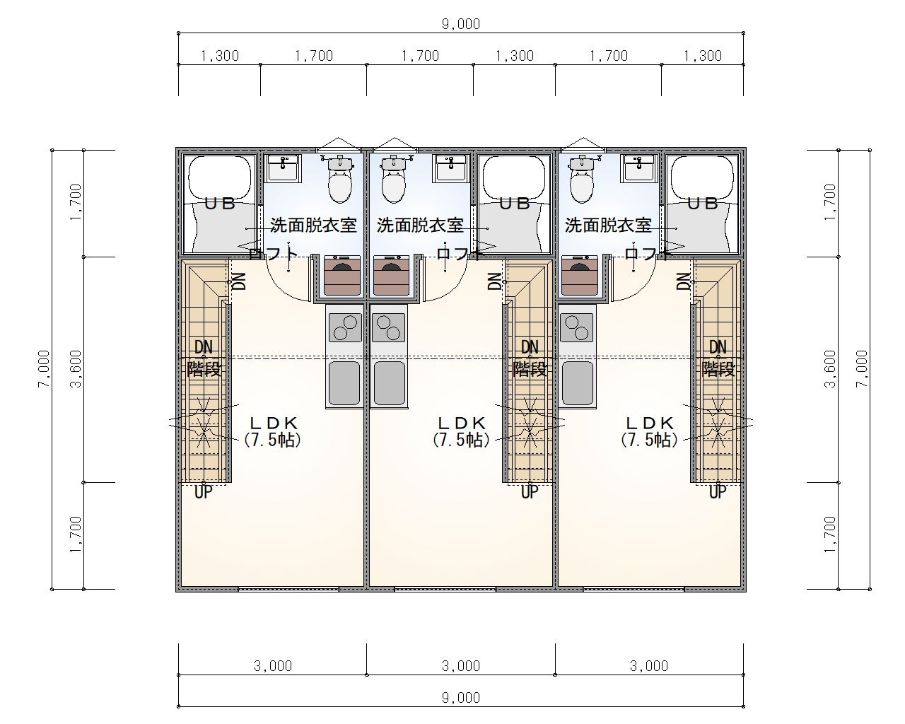ESPRSSOガレージハウス千種 2階 平面図