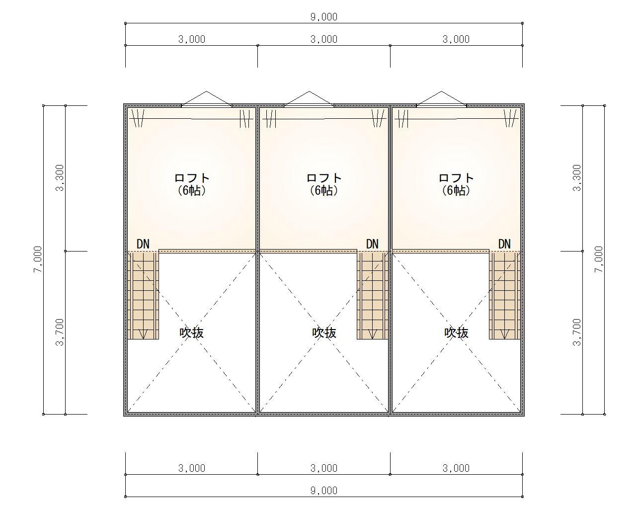 ESPRSSOガレージハウス千種 2階 ロフト平面図