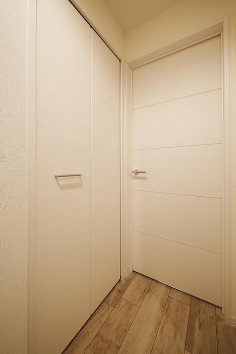 岡崎【アネシス】_C号室_左手のドアはクローゼット収納、右手のドアは洋室へ_MG_6287