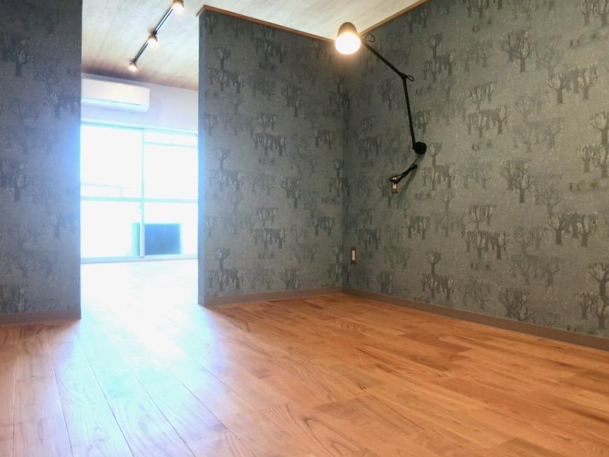 4.1帖のベットコーナー 北欧スタイルのお部屋。 川原ロイヤルハイツ3B3