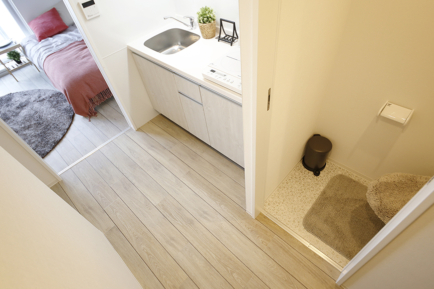 【NNS121】901号室_玄関からトイレ・キッチン。洋室への眺め_MG_1131