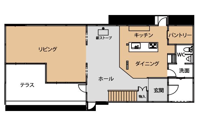八ヶ岳ガレージハウス_クラブハウス_平面図_share_madori