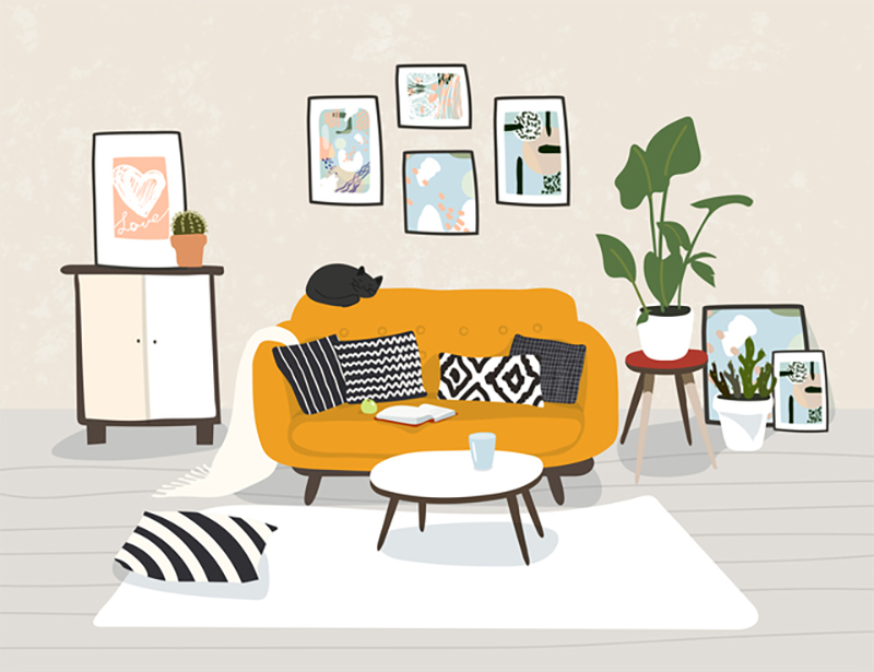 Modern home interior in trendy scandinavian hugge design. Beautiful Nordic style apartment. Living room with sofa, furniture, flowers. Vector illustration